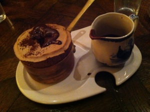 Bistro Vue's chocolate souffle