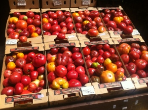 Heirloom tomatoes - they are on every summer menu over here.