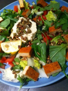 One of my eco friendly vegan salads using home-grown basil and market produce