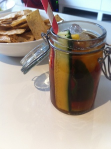 One of my attempts at hipsterness: Pimms in jars with paper straws!