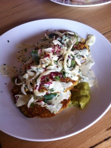Wait free brunch - corn fritters at Garage Espresso in Balaclava