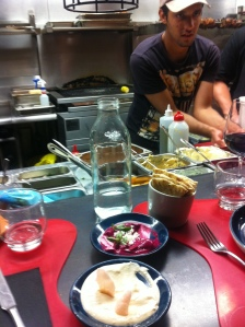 Bar seat and yummy Greek dips at Gazi